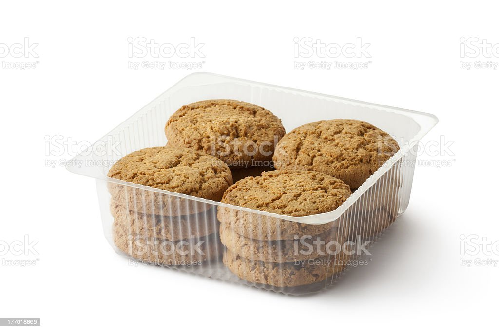 Oatmeal cookies in retail package stock photo