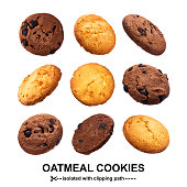 istock Oatmeal cookies isolated on white background 1133672668