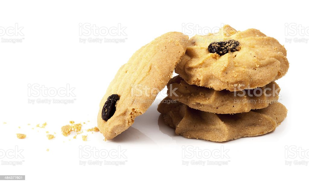 Oatmeal cookies with raisin on a white background stock photo