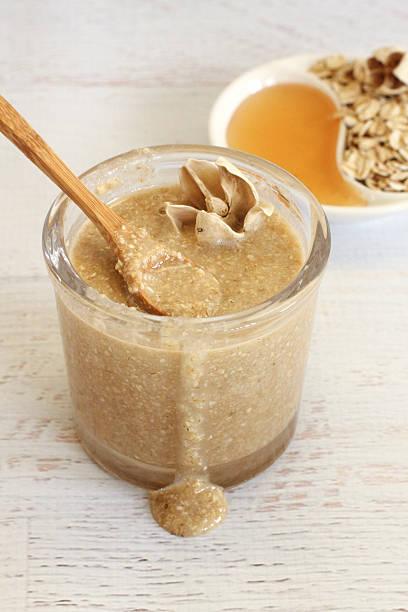 Oatmeal Honey Face Scrub stock photo