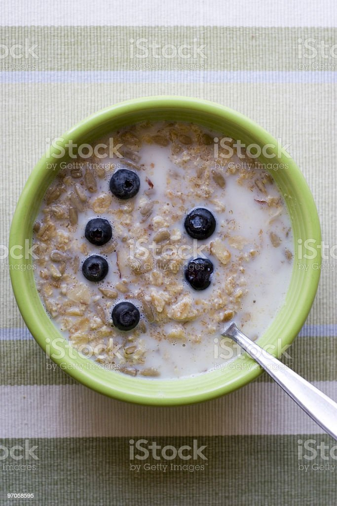 oatmeal in bowl with cream royalty-free stock photo