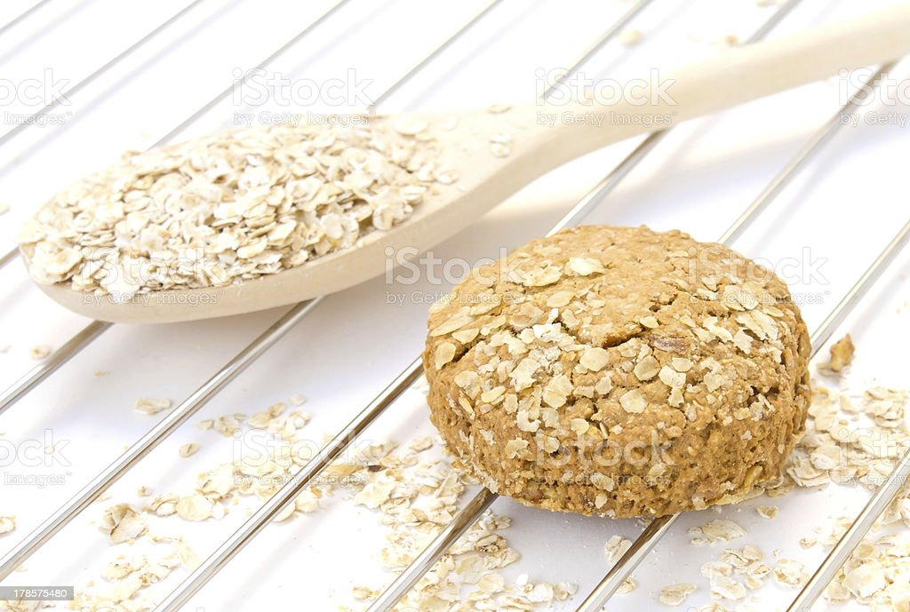 oatmeal in the wooden spoon royalty-free stock photo