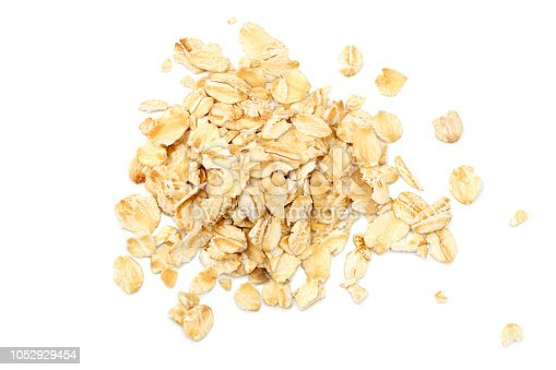 oatmeal isolated on white background. top view