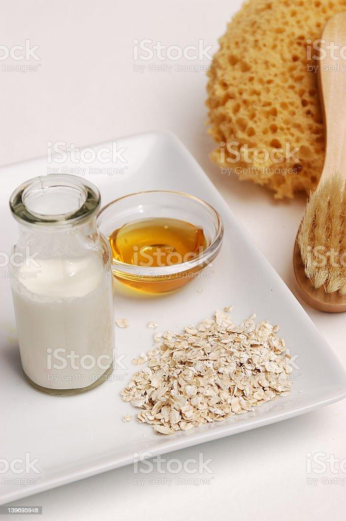 Oatmeal, Milk and Honey royalty-free stock photo