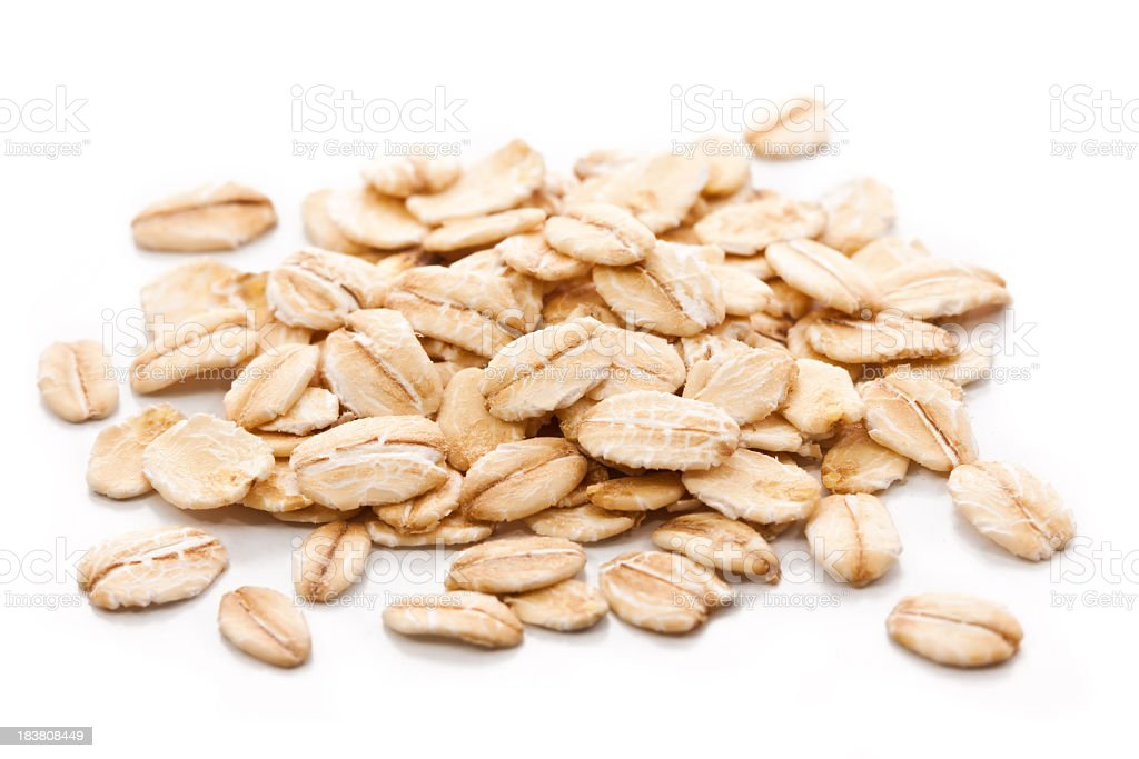 Oatmeal on a white background stock photo