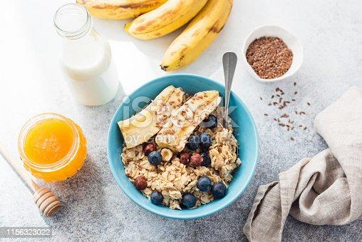 825171518istockphoto Oatmeal porridge with banana, blueberry, nuts 1156323022