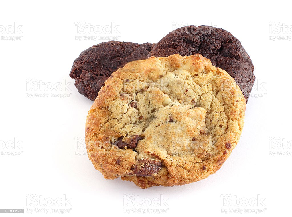 Oatmeal raisin and chocolate cookies stock photo