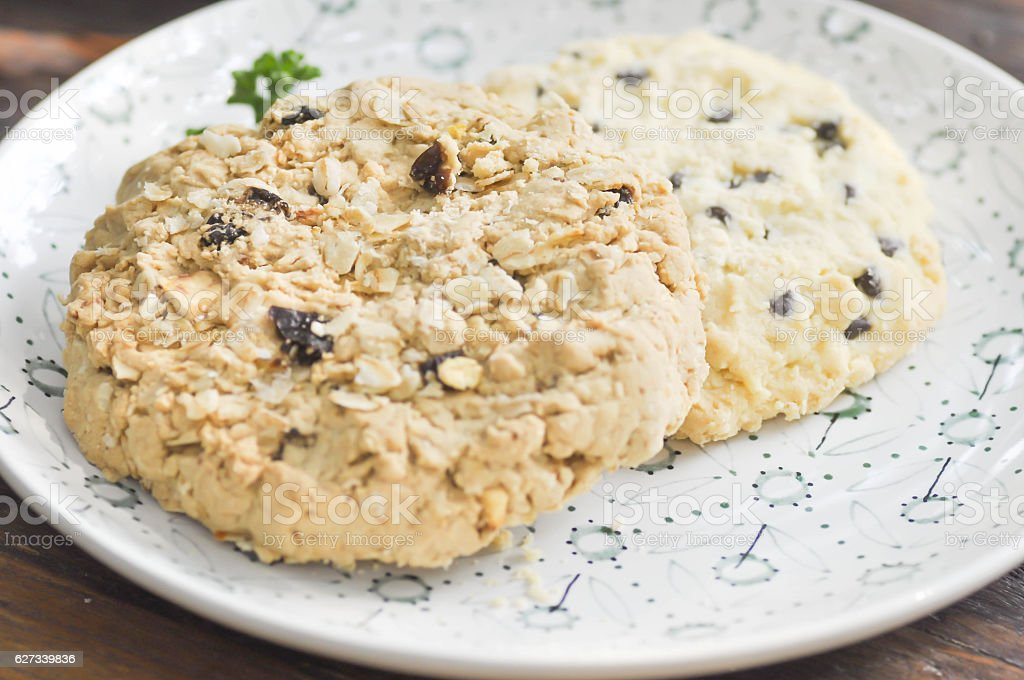 Oatmeal Raisin Cookie and chocolate chip cookie stock photo