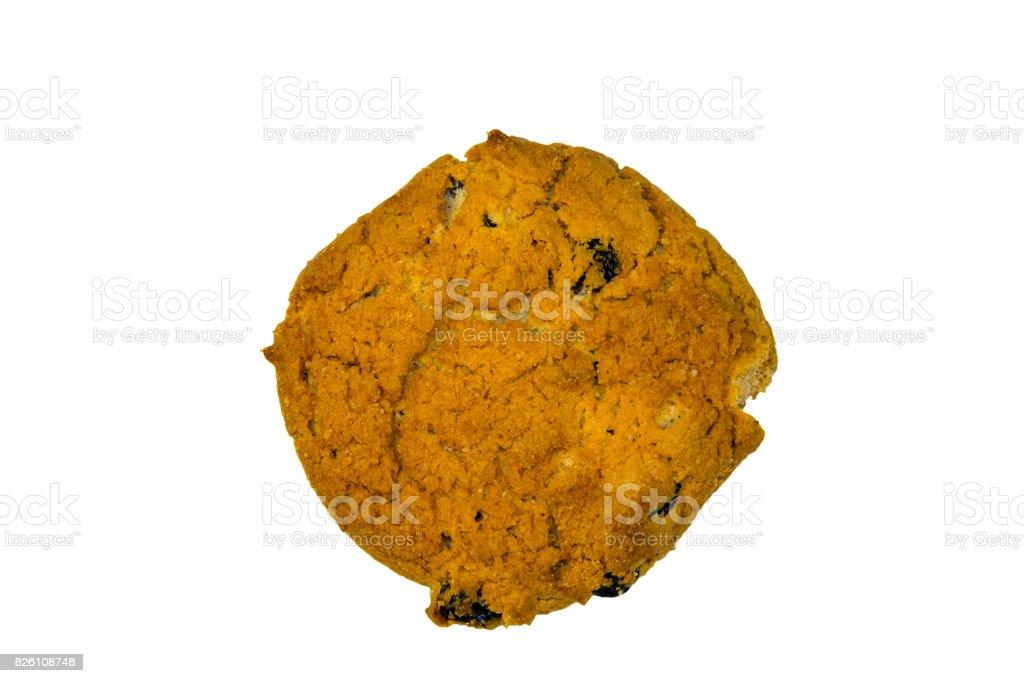 Oatmeal raisin cookie isolated on white background stock photo