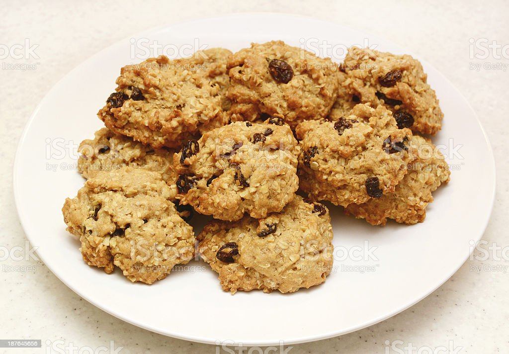 Oatmeal raisin cookies fresh from the oven stock photo