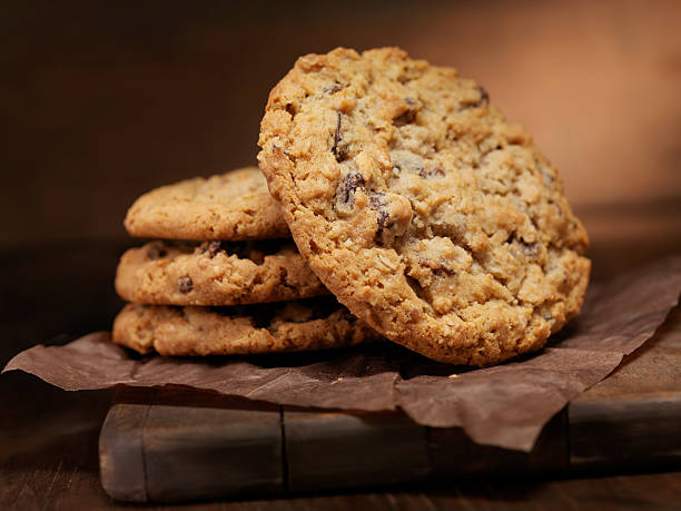 Oatmeal Raisin Cookies  oatmeal stock pictures, royalty-free photos & images
