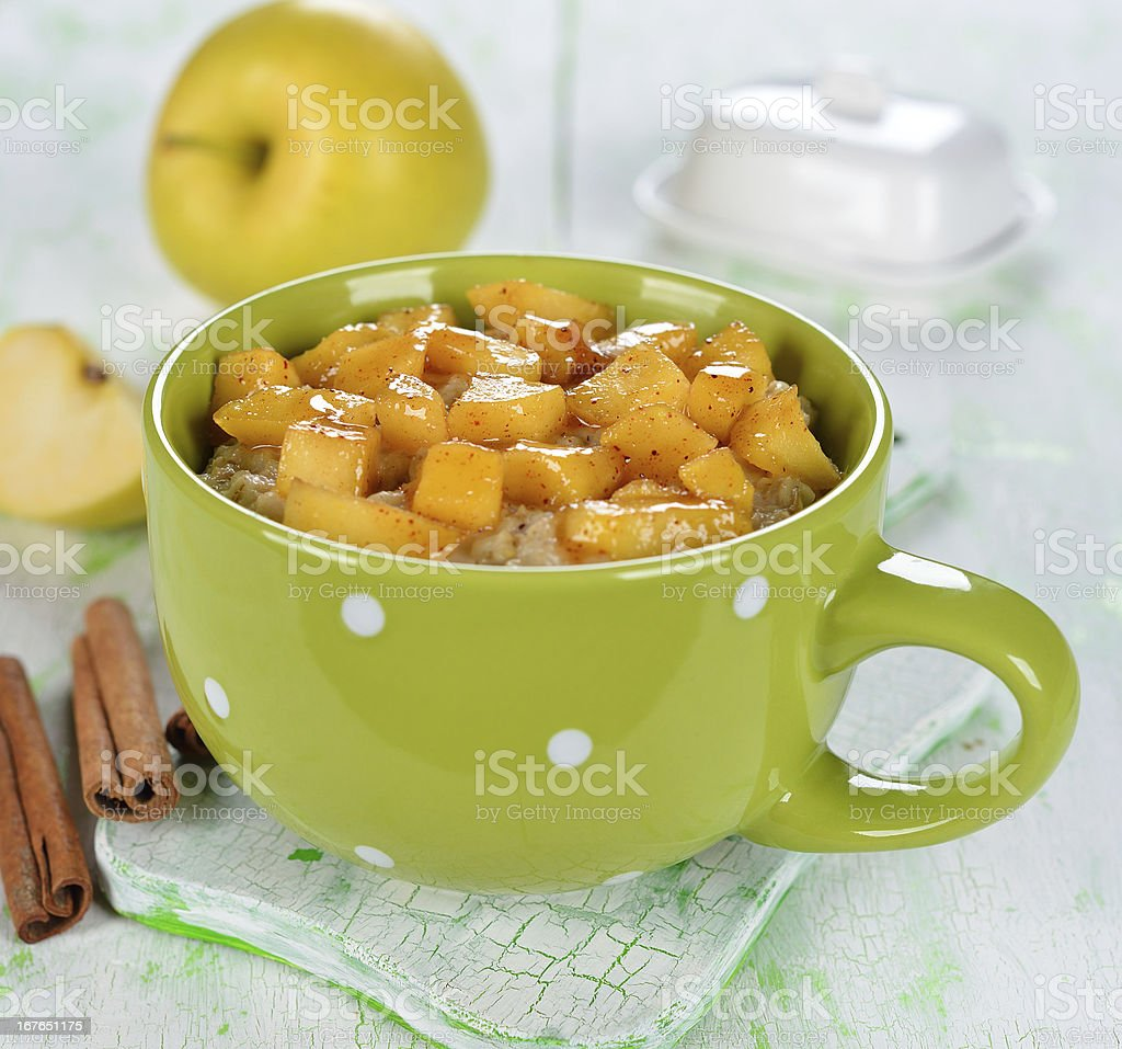 Oatmeal with apple royalty-free stock photo