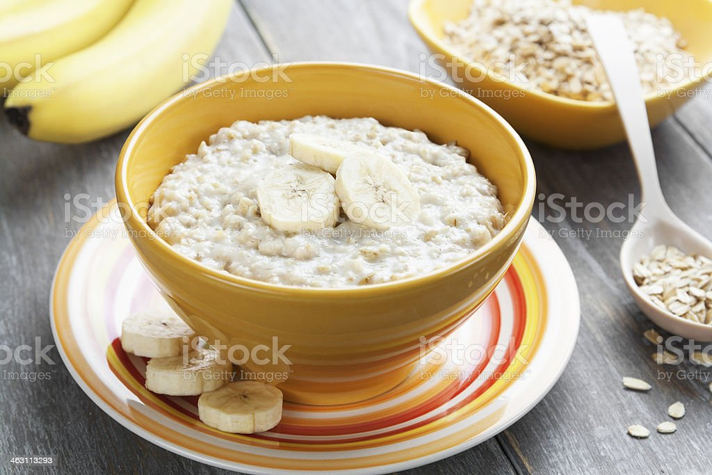Oatmeal with bananas stock photo