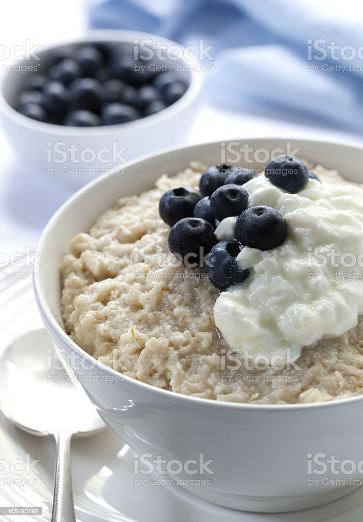 Oatmeal with Blueberries and Yoghurt royalty-free stock photo