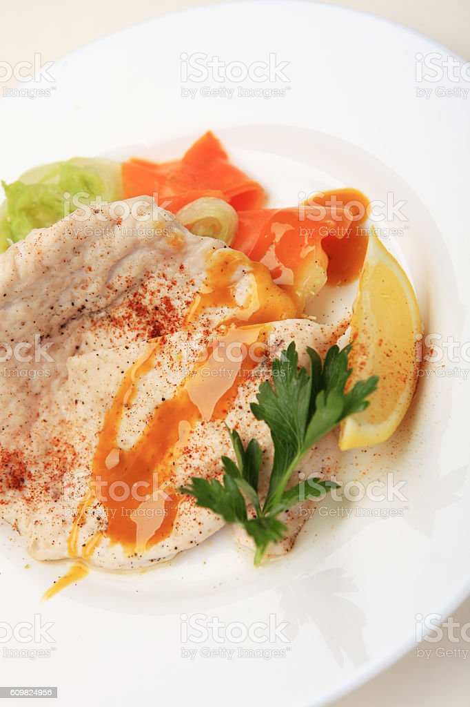 Oatmeal with fruit chicken breast with steamed Chinese cabbage o stock photo