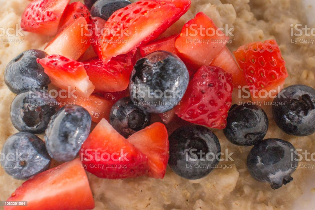 Oatmeal with Fruit stock photo