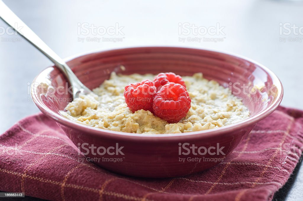 Oatmeal with Raspberries royalty-free stock photo