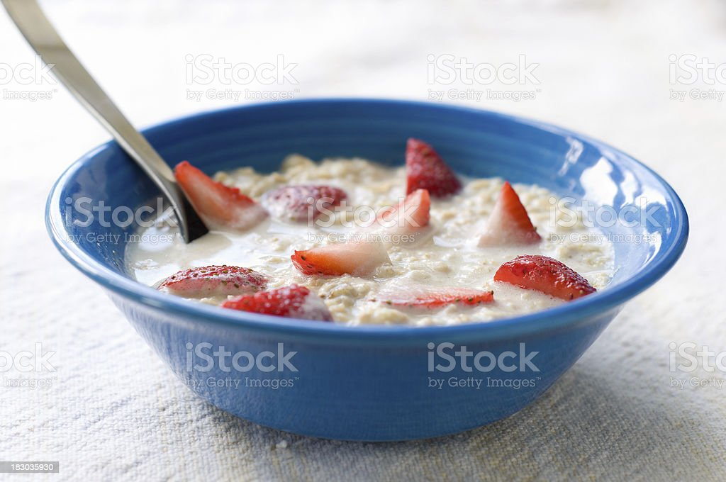 Oatmeal with Strawberries royalty-free stock photo