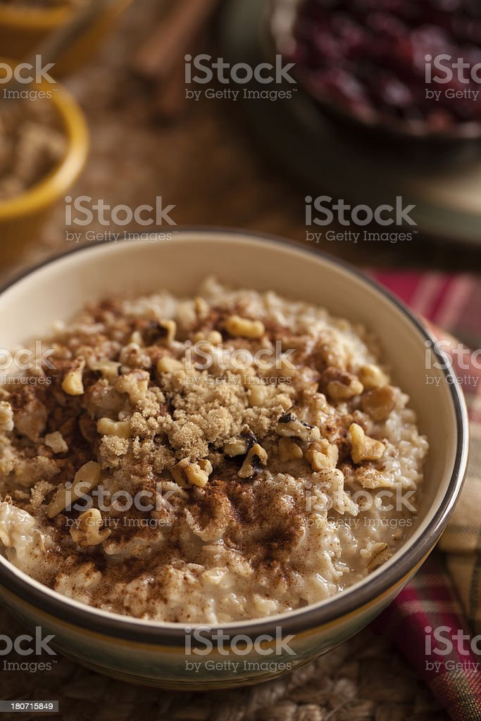oatmeal with walnuts, brown sugar and cinnamon royalty-free stock photo