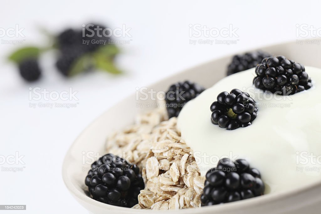 Oatmeal with yogurt and blackberries royalty-free stock photo