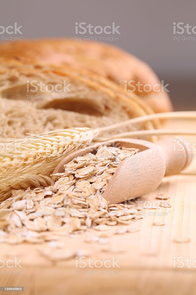 Oats and fresh bread royalty-free stock photo