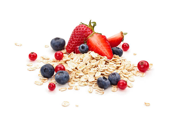 oats, fruits and honey. - oats food stock photos and pictures