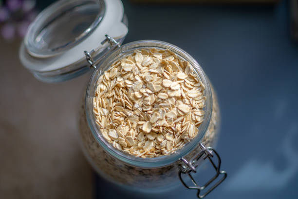 Oats In A Glass Jar stock photo