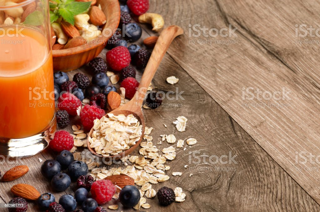 Oats nuts berries royalty-free stock photo