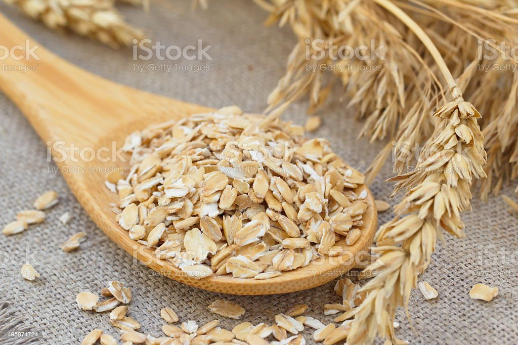 Oats with ears of cereal stock photo