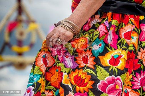 bordados oaxaqueños mano mujer bailando tradiciones mexicanas oxaca mexico