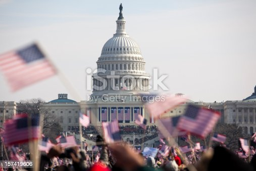 The inauguration of President Barack Obama, January 20th 2009.  Unrecognizable crowds in the Washington Mall.
