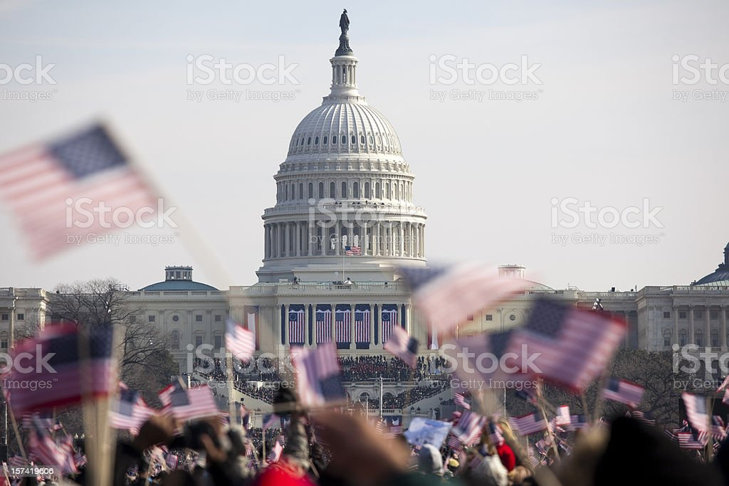 Obama inauguration at the Capitol building in Washington DC stock photo