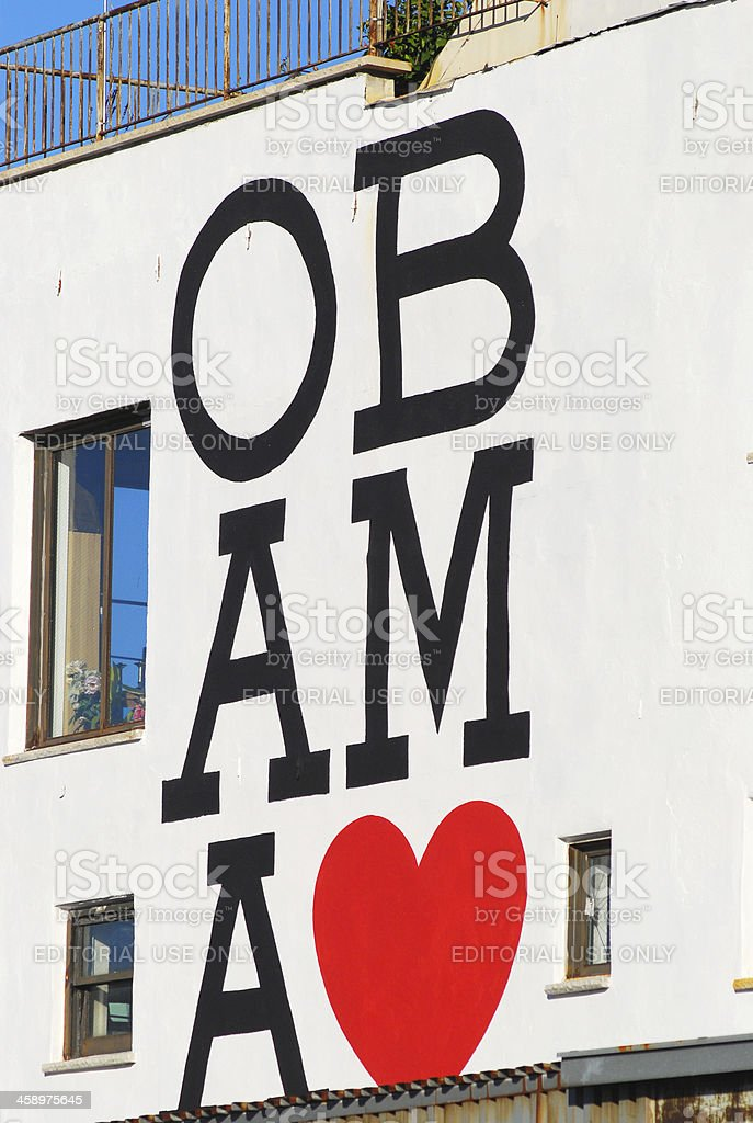 Obama love sign stock photo