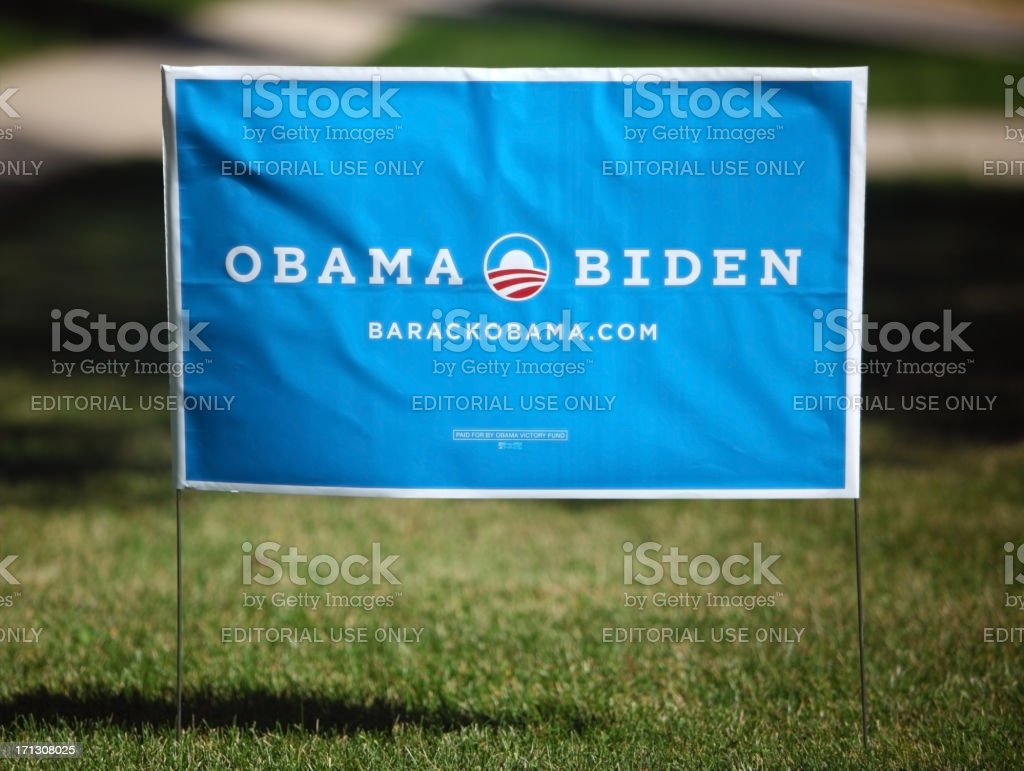 Obama Presidential Campaign Yard Sign stock photo