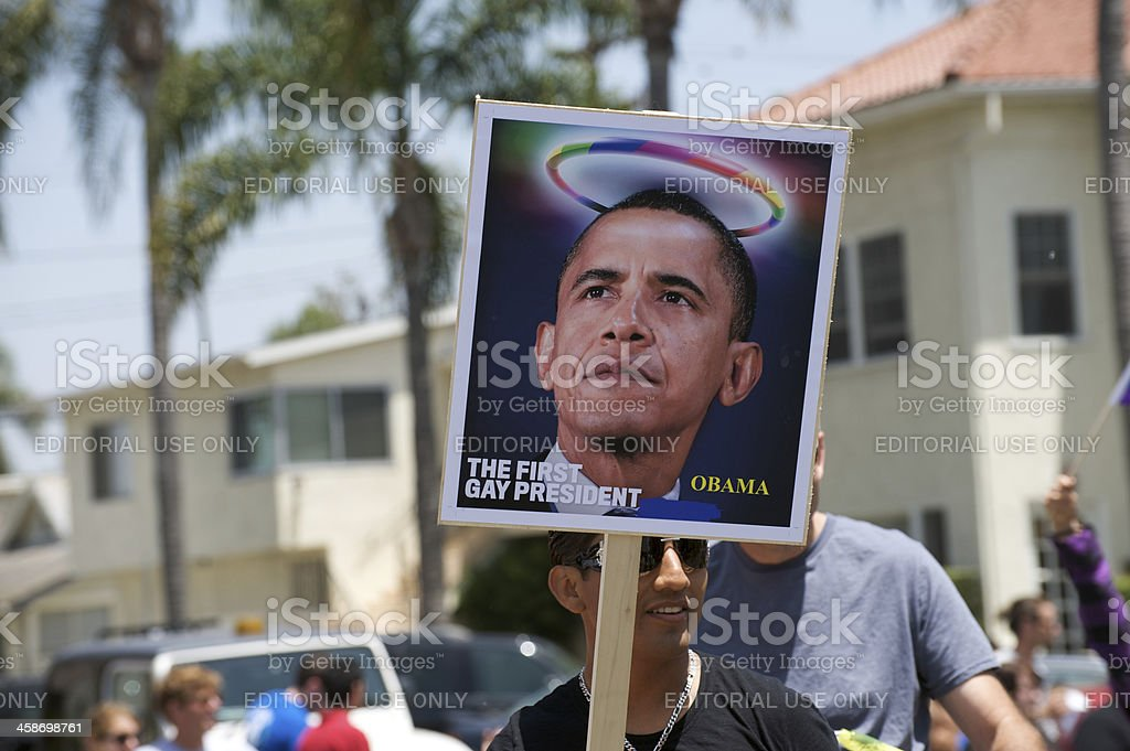 Obama supports the gay and lesbian community stock photo