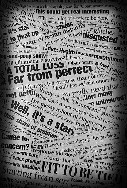 obamacare rollout Headline Collage A  grungy black and white collage made up of newspaper clippings with the topics of Healhcare bill and obamacare websiite rollout and the issues that it is having etc. newspaper cutouts of bad news headlines stock pictures, royalty-free photos & images