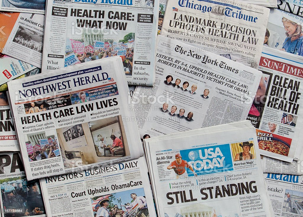 obamacare survives headline collage horz stock photo