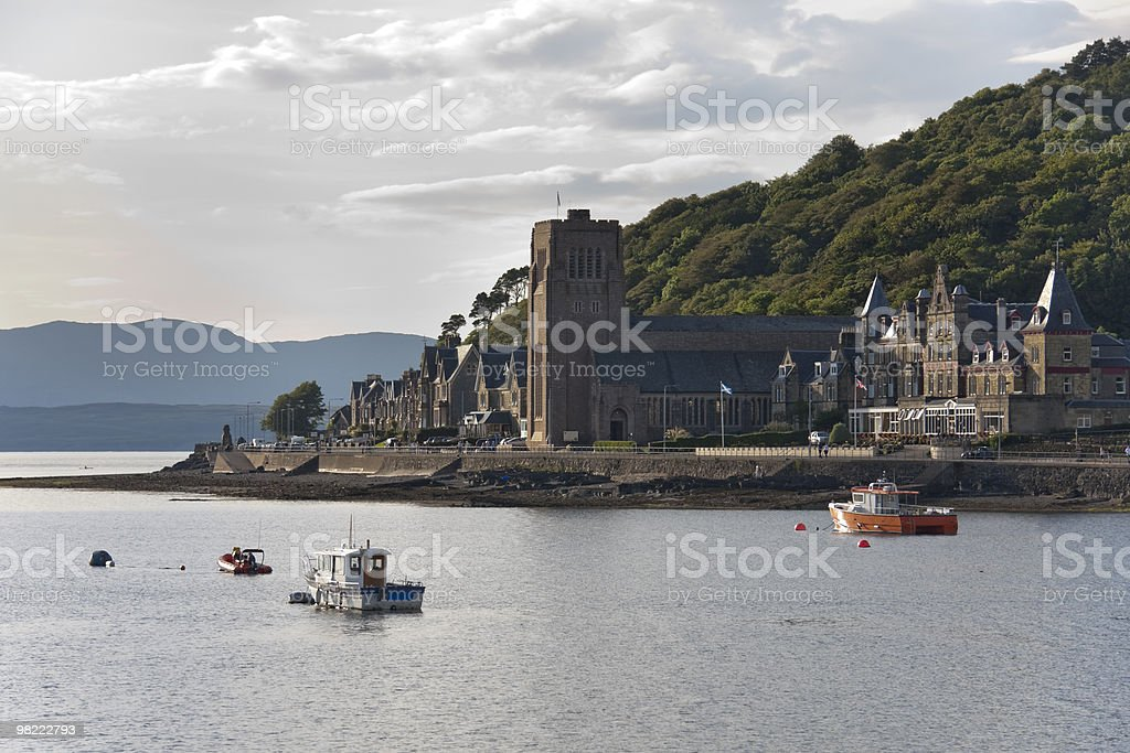 Oban Harbour al tramonto foto stock royalty-free