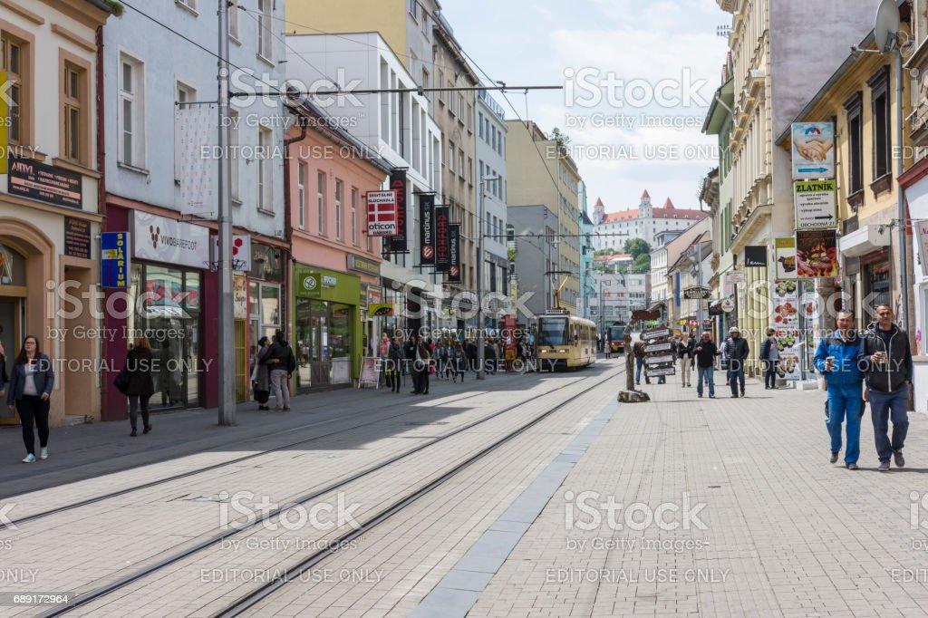 Obchodná street in Bratislava stock photo
