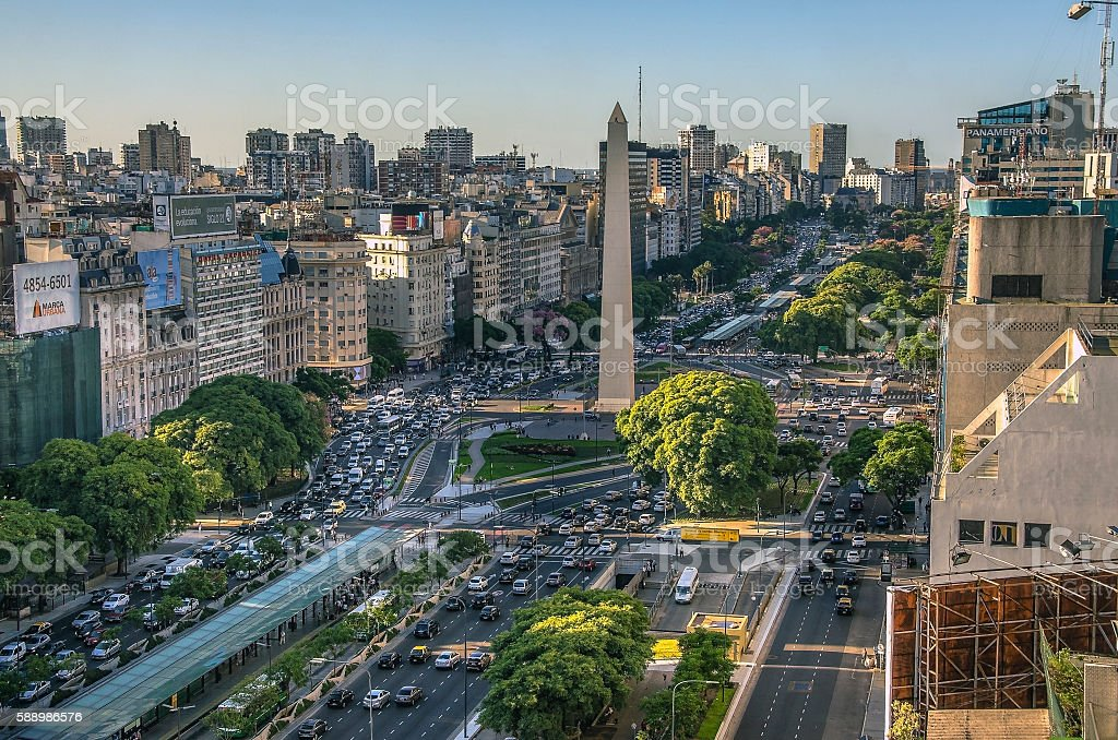 Obelisco de Buenos Aires (Obelisk), historic monument and icon of stock photo