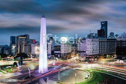 Obelisco de Buenos Aires - long exposure with traffic's lights and moving clouds. Aerial point of view.
