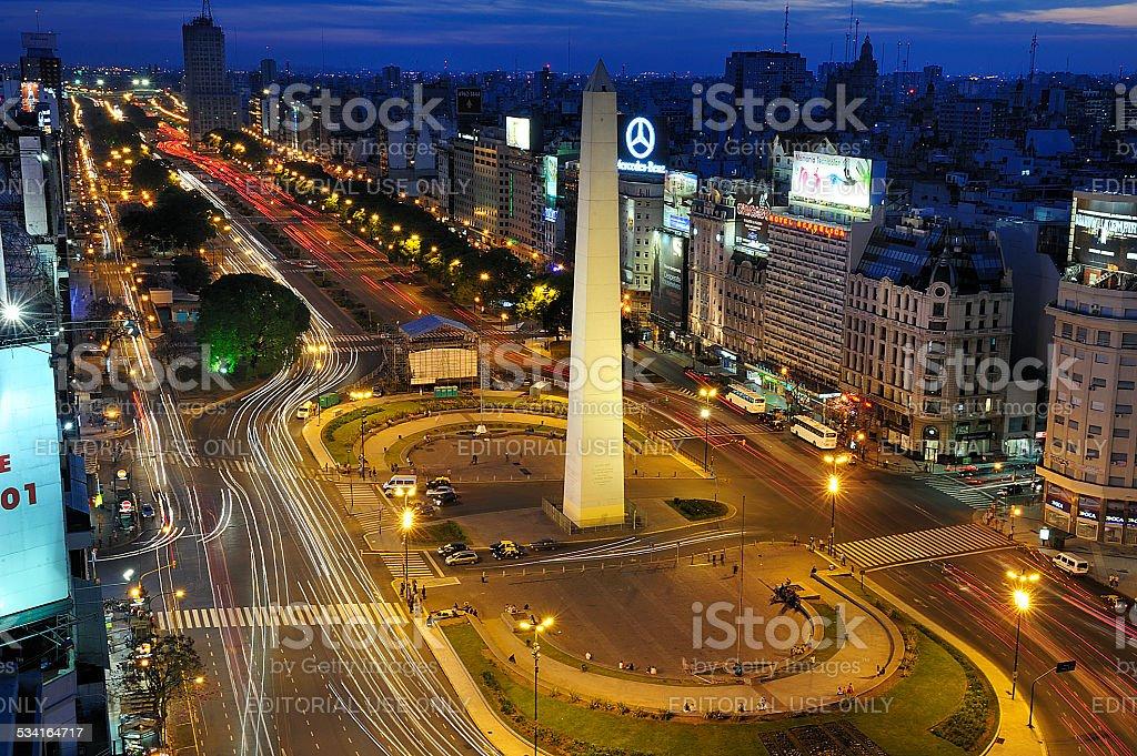 Obelisk and Avenue of 9 de Julio, Buenos Aires, Argentina stock photo