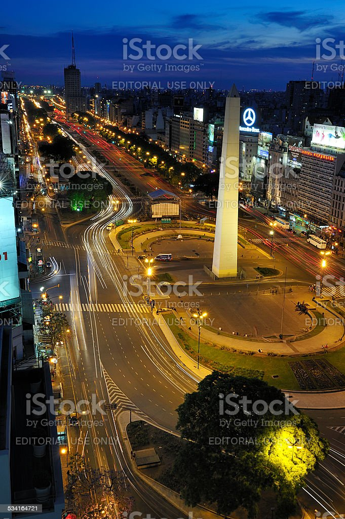 Obelisk and Avenue of 9 de Julio, Buenos Aires, Argentina stock photo