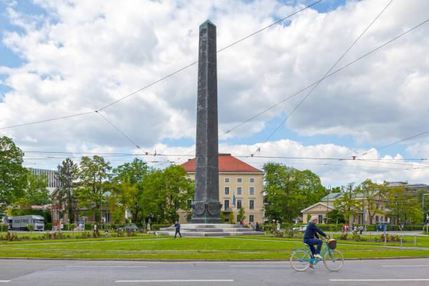 Obelisk at Karolinenplatz in Munich stock photo