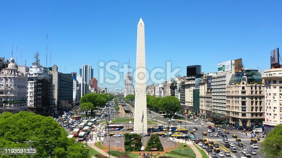 Obelisk of Buenos Aires, historic monument and icon of Buenos Aires, located in the Plaza de la Republica in the intersection of avenues Corrientes and 9 de Julio, Buenos Aires, Argentina