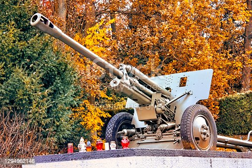 istock Obelisk with an iron cannon in the park 1294962146