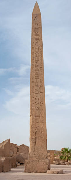 Obelisk with hieroglyphics at ancient egyptian Karnak Temple stock photo