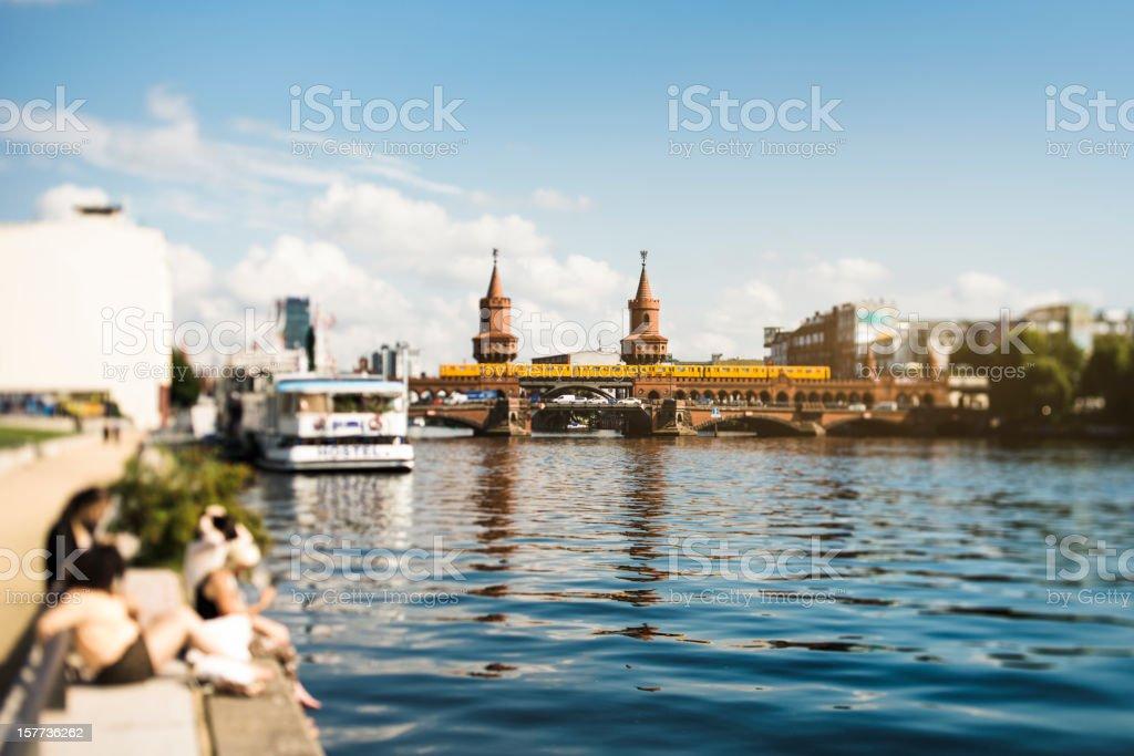 Oberbaum Bridge, Berlin Spree river stock photo