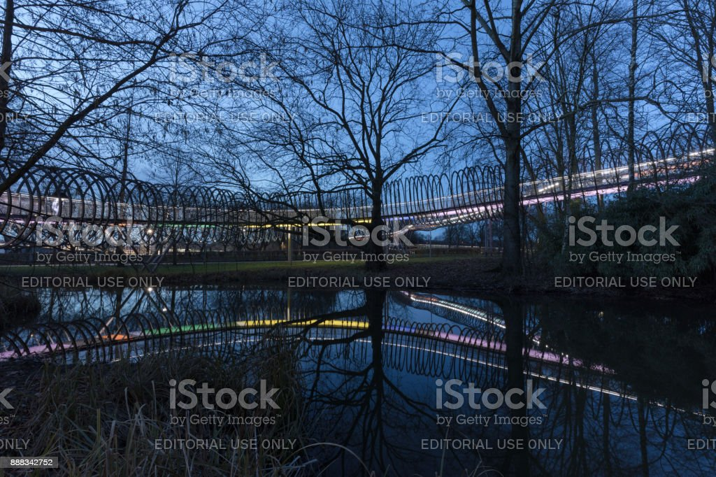 Oberhausen, NRW, Germany - February 21, 2017 At 6.30pm : Illuminated Bridge Slinky Springs To Fame stock photo