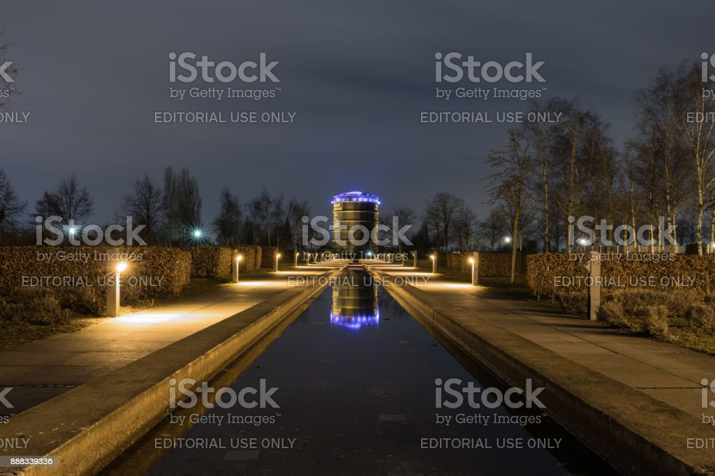 Oberhausen, NRW, Germany - February 21, 2017 At 7.21pm : Illuminated Gasometer From Olga Park stock photo